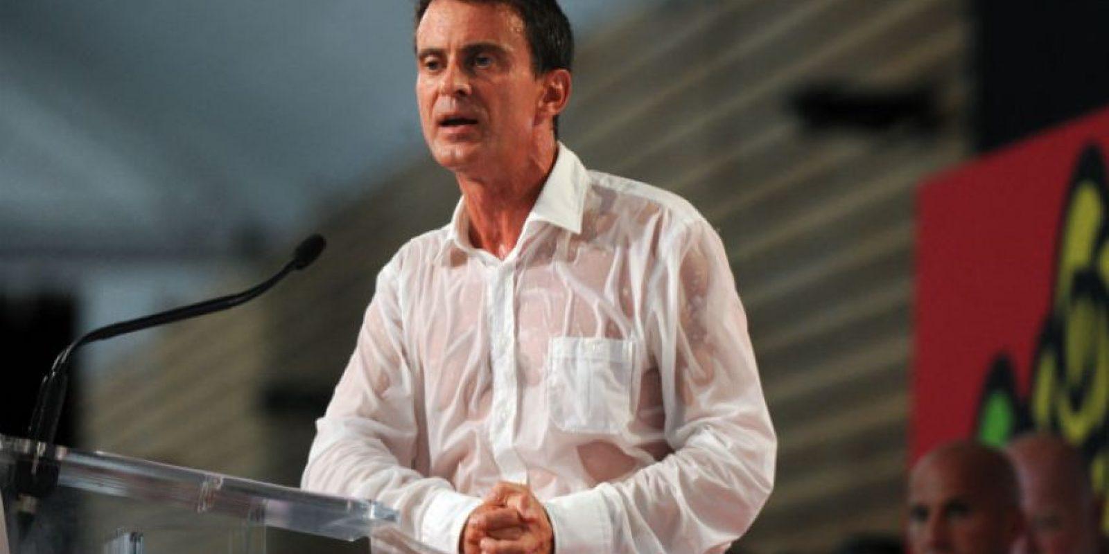 Así lucía Manuel Valls al término de su discurso. Foto:AFP
