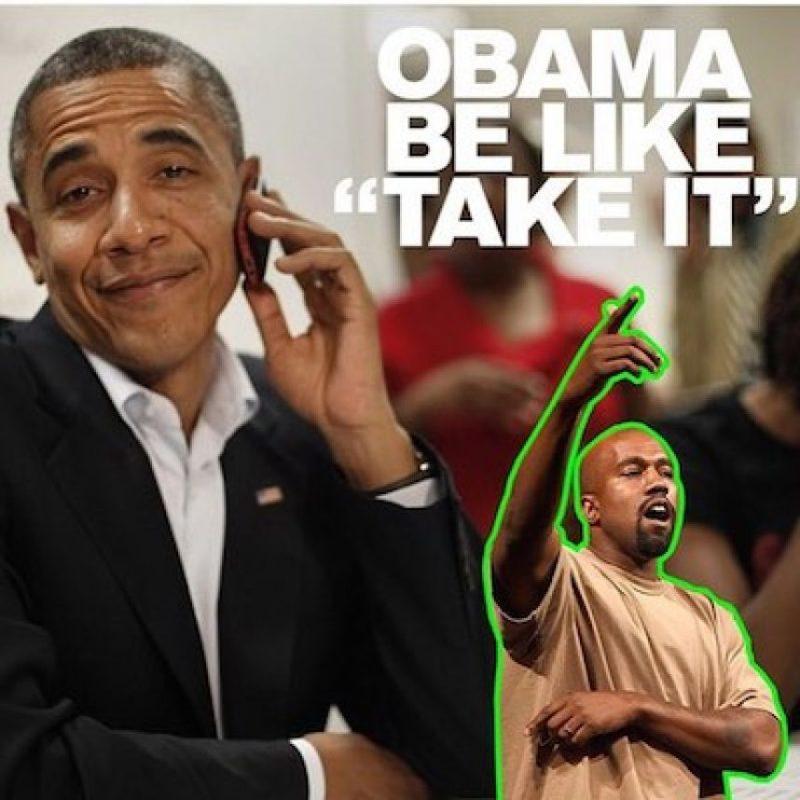 """¿Y cómo reaccionarían Los Obama? Bueno, pues el actual mandatario le diría """"Tómalo"""" Foto:Instagram.com/explore/tags/kanyewest"""