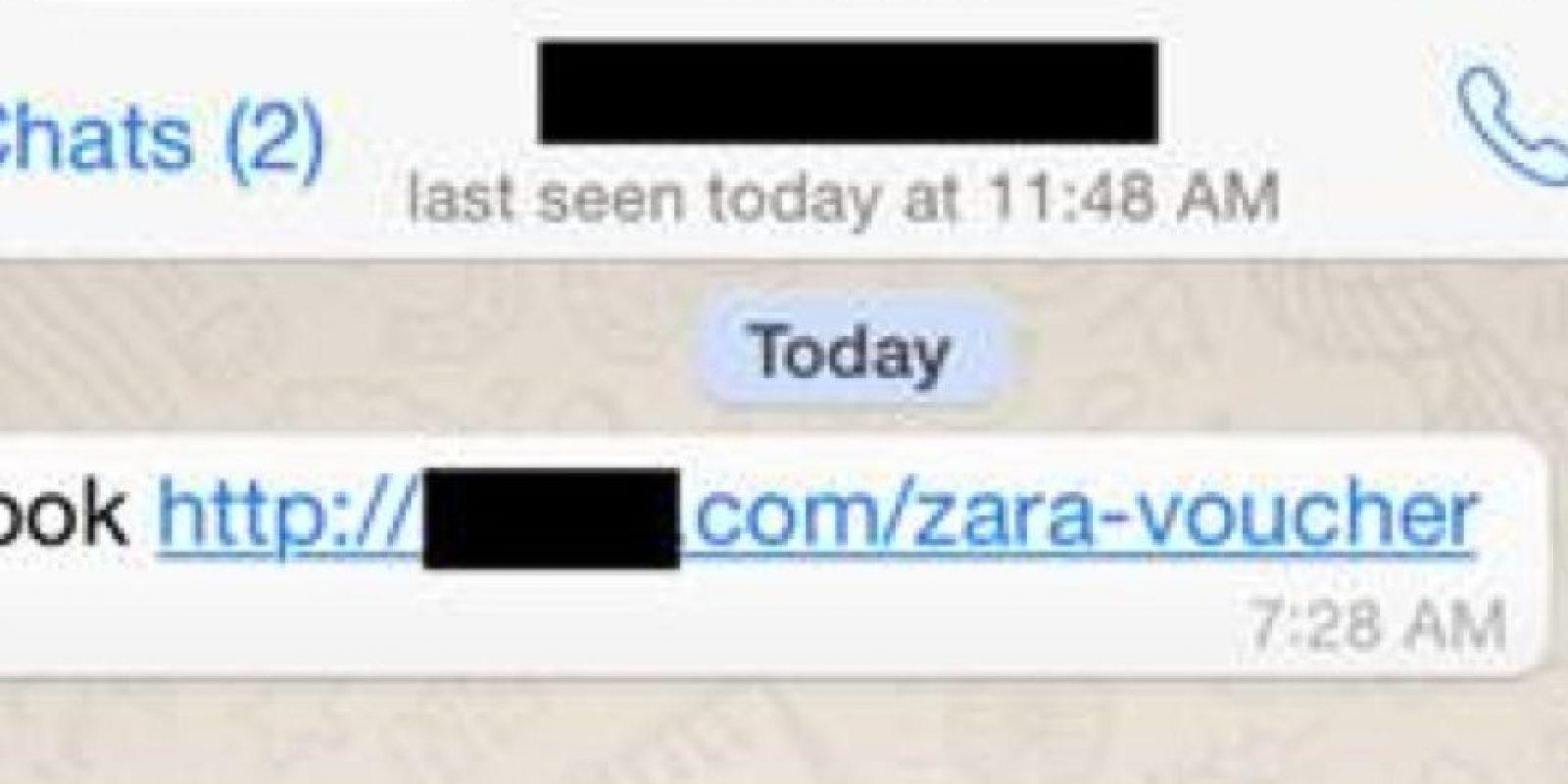 El enlace fraudulento prometiendo descuentos de Zara. Foto:Kaspersky Lab
