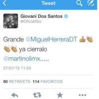 """El mexicano Giovani dos Santos publicó un post en apoyo al ex técnico del """"Tri"""", Miguel Herrera, que después eliminó Foto:Twitter"""