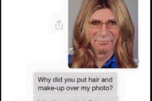 """Hombre: """"Hola sexy, mándame una foto de ti"""". """"¿Pusiste cabello y maquillaje sobre mi foto?"""" """"No quiero más hablar contigo"""" Foto:Twitter"""