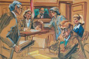 Se separó de Mia Farrow en 1992. Este dibujo es de una de las audiencias en la Corte. Foto:Dibujado por Marilyn Church