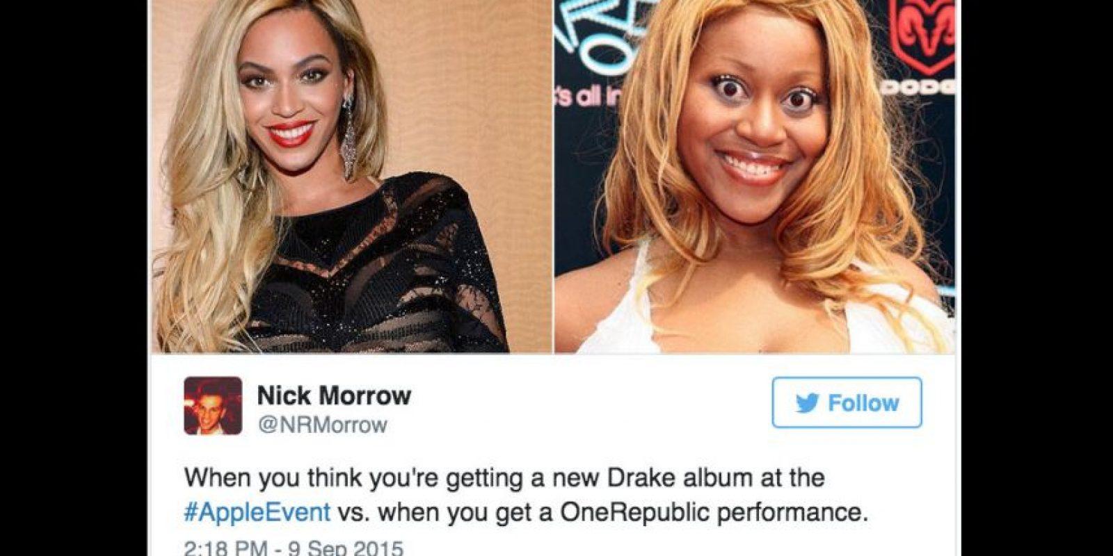 """Así quedaron los que pensaron que el rapero Drake presentaría su nuevo disco en el evento de Apple y apareció """"One Republic"""" Foto:Twitter"""
