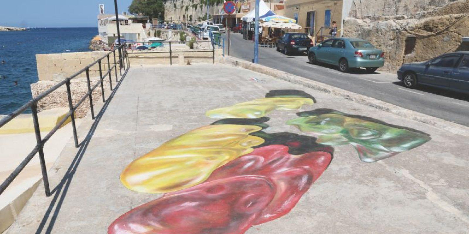 El artista Leon Keer disfruta crear arte anacrónico. Foto:Vía Streetpainting3D.com