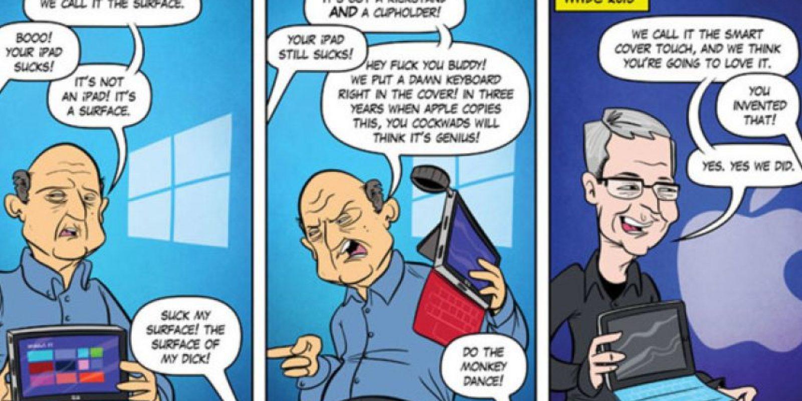 El cómic que se burla de Apple y Microsoft por el estreno de una iPad Pro hace tres años Foto:Joel Watson/Hijinks Ensue