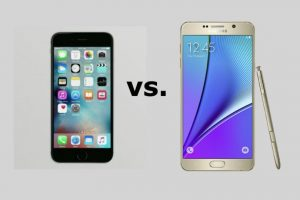 iPhone 6s y Samsung Galaxy Note 5 frente a frente. Foto: Apple / Samsung