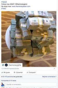 """""""Sería más impresionante si usaras ese dinero para darle un hogar a la gente sin casa, así como lo hizo 'Pacman'"""", le escribieron en otro video, pero ahora de varios fajos de billetes. Foto:Vía facebook.com/floydmayweather"""