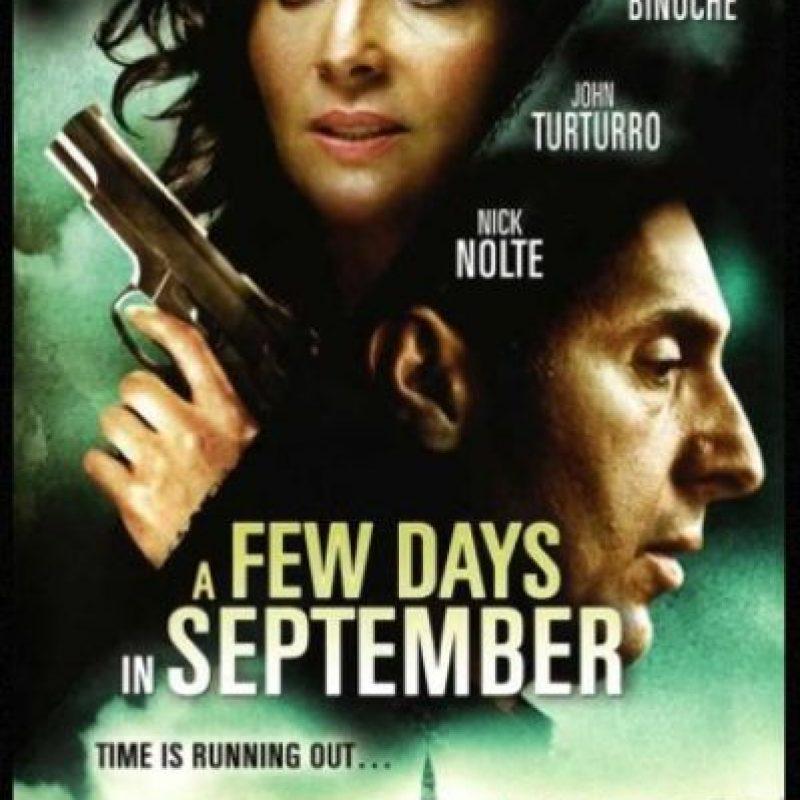 """""""A few days in September"""" (2006) cuenta la historia de un agente de la CIA, perseguido por un asesino, que tiene conocimiento de los ataques. Foto:Moviepostershop.com"""