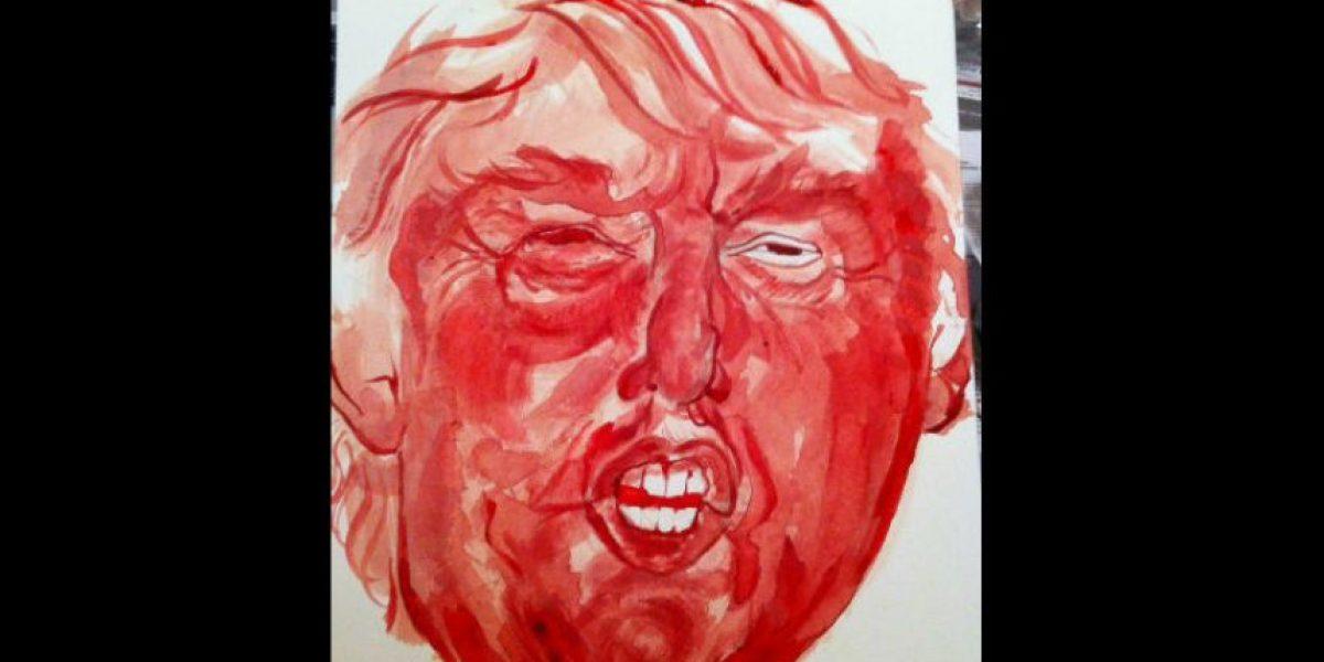 No creerán lo que usó está mujer para pintar cuadro de Trump