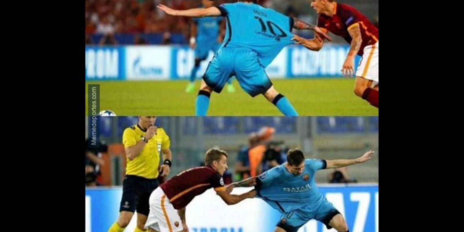 Y a Lionel Messi le fue como siempre. Foto:memedeportes.com