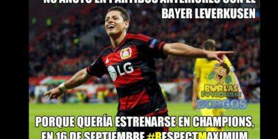 """""""Chicharito"""" marcó con el Leverkusen. Foto:Vía twitter.com"""
