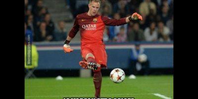 """Ter Stegen fue el más """"trolleado"""" de esta jornada en la Champions League. Foto:memedeportes.com"""