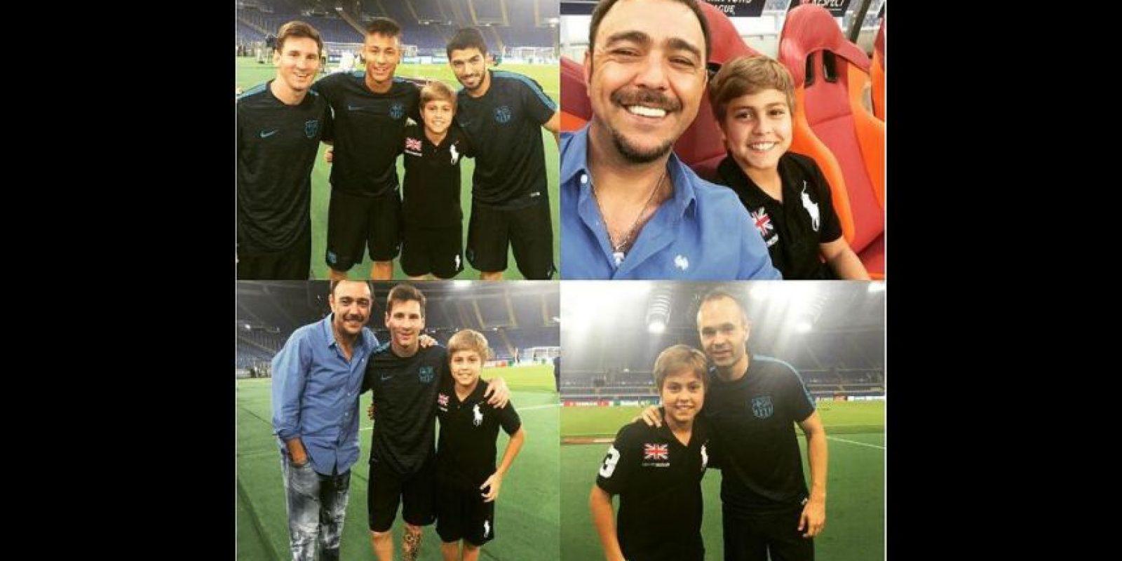 El niño, admirador de Luis Suárez, Messi y Neymar, cumplió su sueño al conocerlos. Foto:Vía twitter.com/Chino_Recoba20