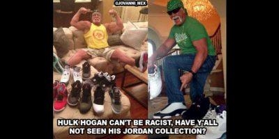 Hulk Hogan no puede ser racista. ¿Ya vieron toda su colección Jordan? Foto:Vía facebook.com/WWEMEMES
