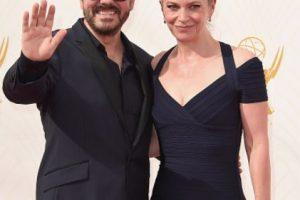 Jane Fallon y Ricky Gervais, sobrios.