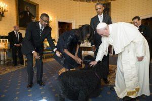 Ahí también conoció a los dos perros del presidente Barack Obama. Foto:AFP