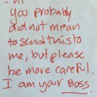 """Hasta que se descubre que se le ha enviado """"algo indebido"""" a """"alguien indebido"""". El jefe. Lo peor que puede pasar. Y este solo puede responder: """"Tu probablementen o querías enviarme esto, pero por favor, sé mas cuidadosa. Soy tu JEFE"""". Vergüenza por toda la eternidad. Foto:vía imgism"""