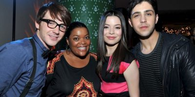 Con Drake Bell, Miranda Cosgrove y Josh Peck en 2008 Foto:Getty Images