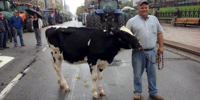 Entre los manifestantes más destacados están los productores de leche de Canadá, quienes ahora deberán competir con otras economías. Foto:AFP