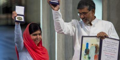 Los ganadores fueron Malala Yousefzai, la más joven en recibirlo (17 años) y el indio Kailash Satyarthi Foto:Getty Images