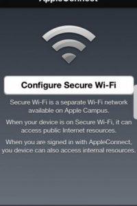Es la aplicación especial para los empleados que configura la seguridad del Wi-Fi en el Campus de Apple Foto:Apple