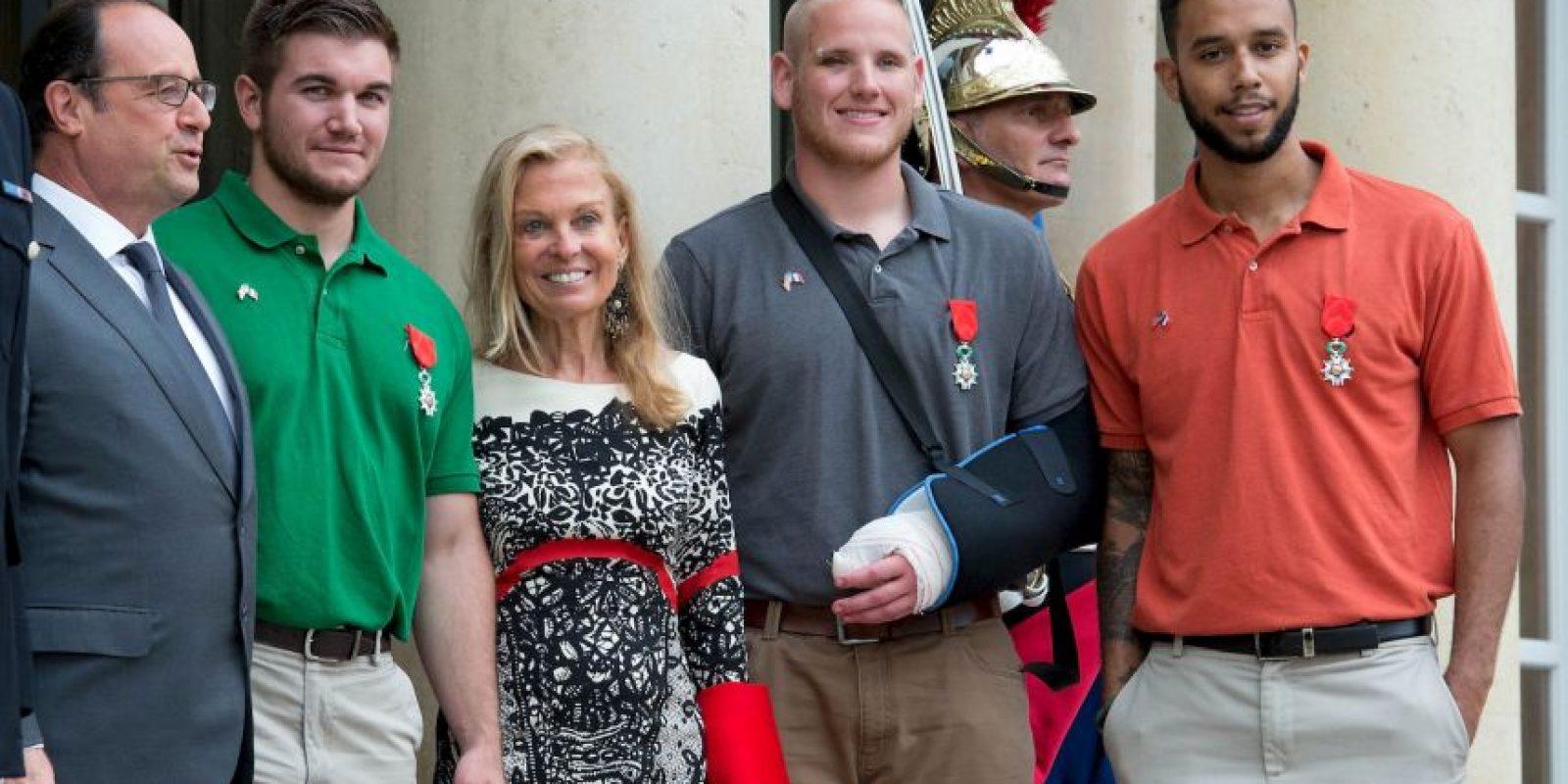Spencer Stone (centro) es un soldado estadounidense. Foto:Getty Images