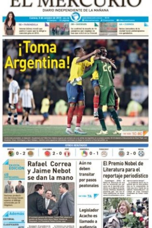 """""""El Mercurio"""" de Ecuador se burló de la """"Albiceleste"""": """"!Toma Argentina¡"""" Foto:El Mercurio"""