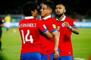 """Marcó el primer gol de Chile sobre Brasil, y siguió demostrando por qué es el delantero más letal de la """"Roja"""" en la actualidad. Foto:Getty Images"""