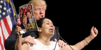 Frente al podium Myriam Witcher, gritó que apoyaba al magnate en su campaña. Foto:Getty Images