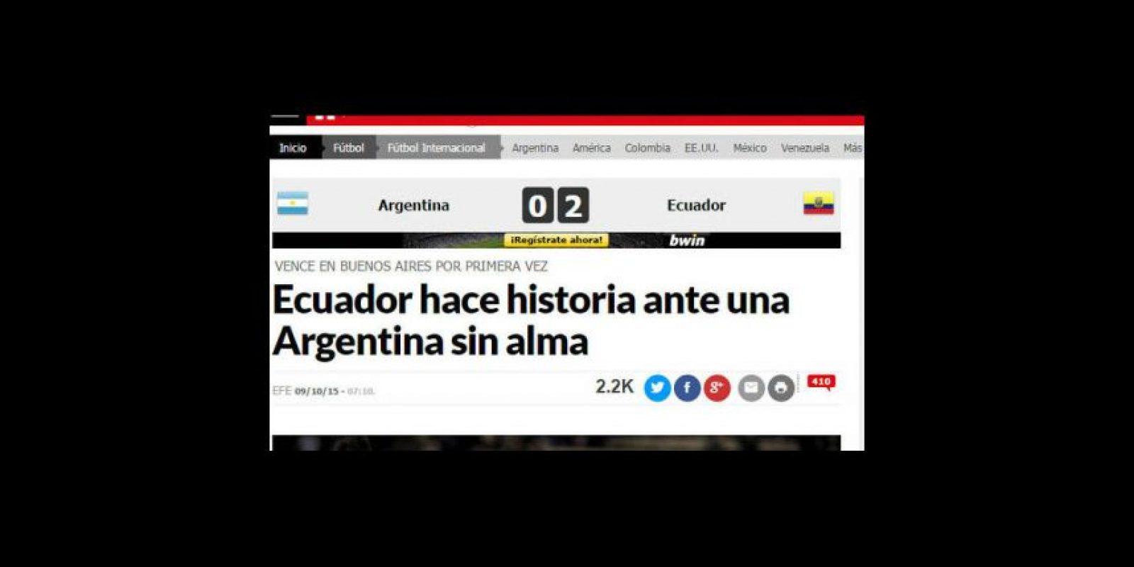 """""""Marca"""" resaltó la primera victoria de los ecuatorianos en suelo argentino Foto:Marca"""