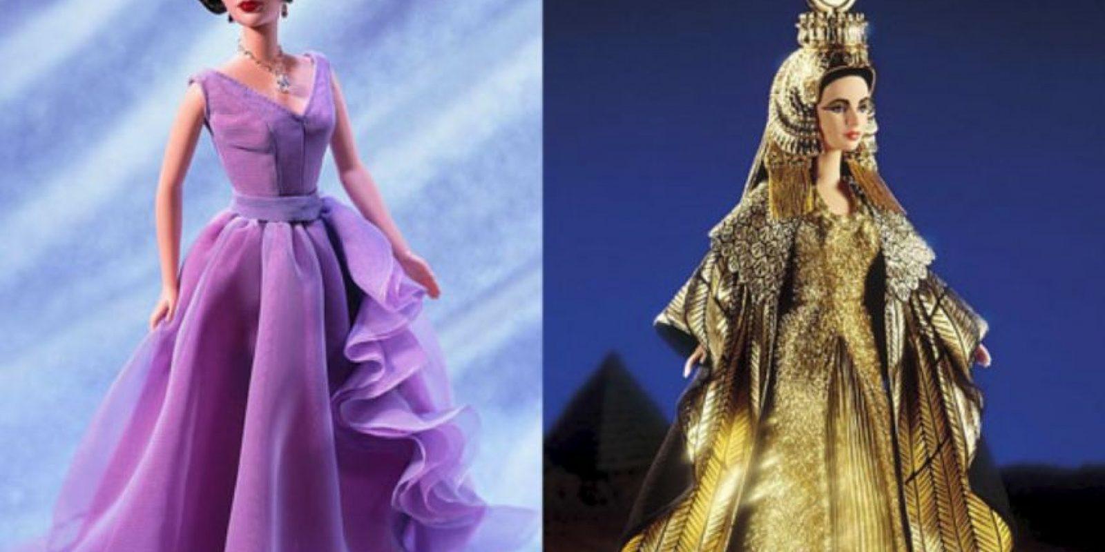 """Elizabeth Taylor en los años 50 y en """"Cleopatra"""" Foto:vía Mattel"""