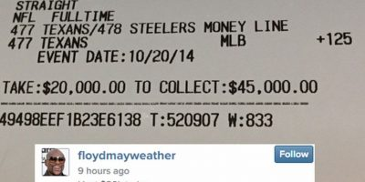 5) Perdió 20 mil dólares en apuesta que hizo en la NFL. Foto:Vía instagram.com/floydmayweather