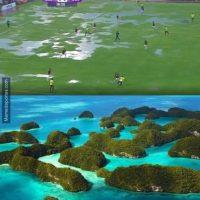 En un estadio totalmente lleno de agua. Foto:memedeportes.com
