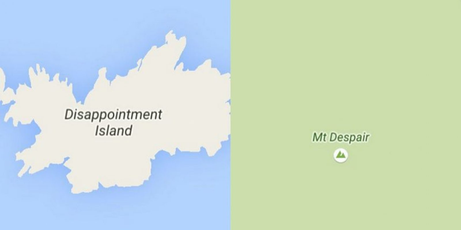 Disappointment Island (Auckland Islands, Nueva Zelanda) y Mt. Despair (Washington state, Estados Unidos). Foto: Vía Instagram @sadtopographies