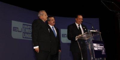 Rolando Archila Dehesa, Rolando Archila Marroquín y Edgar Marroquín, en la celebración de los 50 años. Foto:Emisoras Unidas