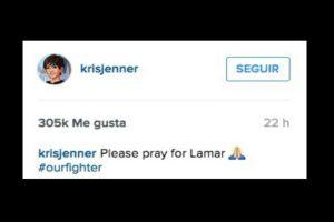 """Por favor recen por Lamar"" Foto:Twitter/KrisJenner"