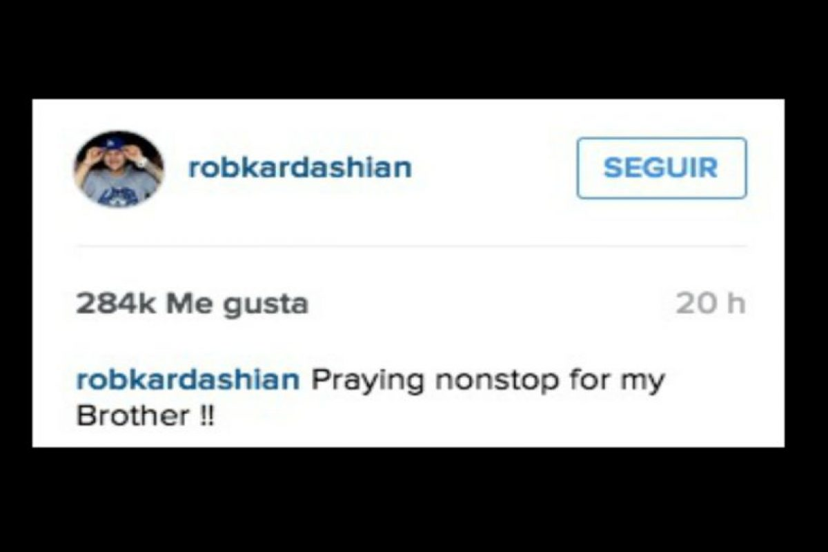 """¡¡Orando sin parar por mi hermano!!"" Foto:Instagram/robkardashian"