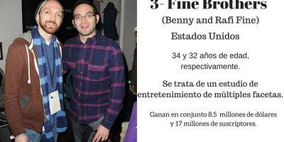 3- Fine Brothers: 8.5 millones de dólares. Foto:Especial / Getty Images