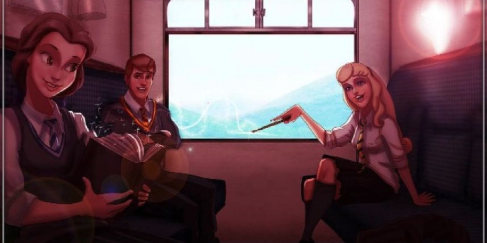 """Las princesas viajando en el tren a """"Hogwarts"""" Foto:vía instagram.com/isaiahks_art"""