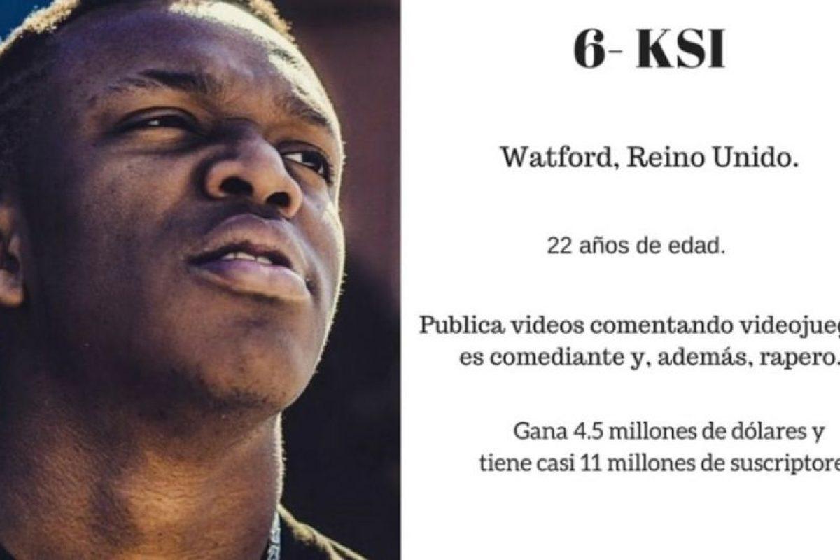 6- KSI: 4.5 millones de dólares. Foto:Especial / Getty Images
