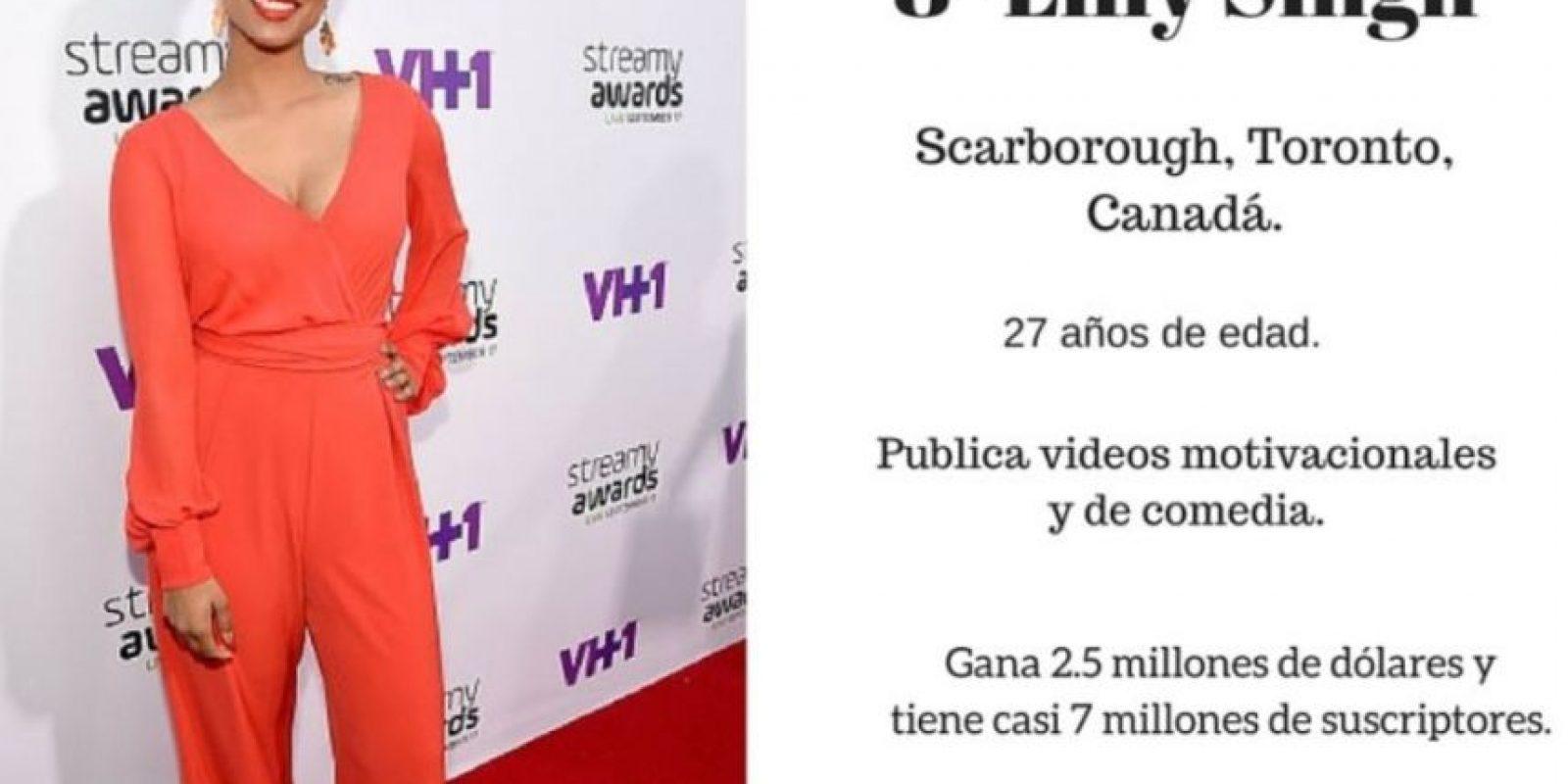 8- Lilly Singh: 2.5 millones de dólares. Foto:Especial / Getty Images