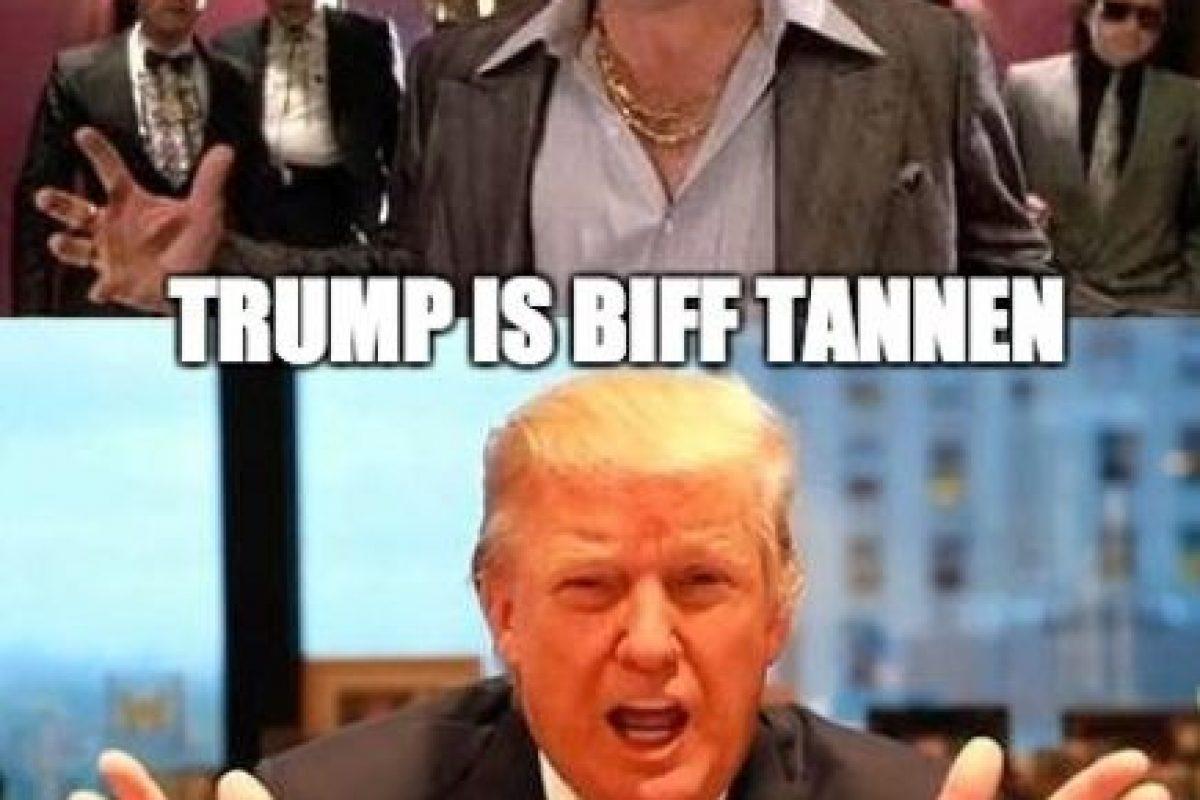 "5. ""Biff Tannen"" y Donald Trump se peinan igual. Foto:Twitter"