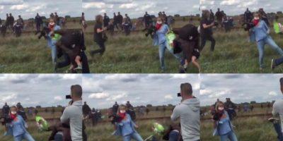 Camarógrafa húngara demandará al refugiado que pateó