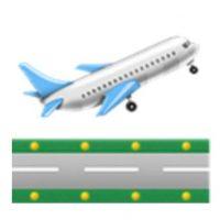 Avión de pasajeros despegando. Foto:vía emojipedia.org