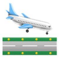Avión de pasajeros aterrizando. Foto:vía emojipedia.org