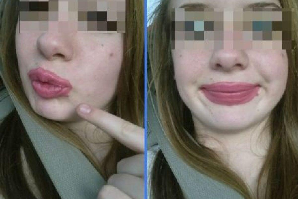 Cuando simplemente no tienen buen pulso… Foto:Vía Instagram/#LipstickFail