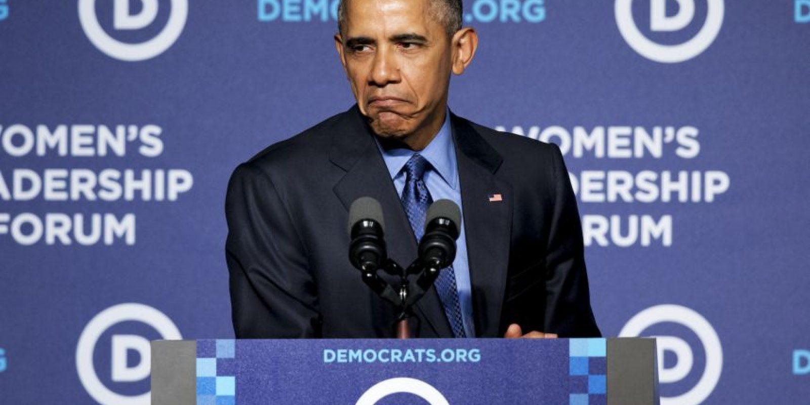 El presidente estadounidense no resistió hacer la expresión. Foto:AP