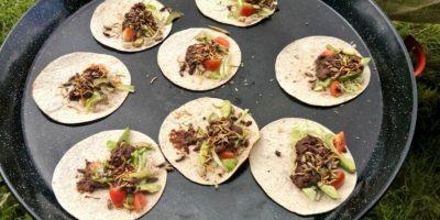 Burritos de insectos: limón, trigo, cilantro, frijoles picantes, grillos, chapulines, salsa de tomate y guacamole. Foto:Vía Twitter @grub_kitchen