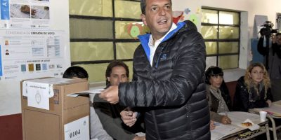 El candidato de UNA, Sergio Massa, se mostro entusiasmado Foto:AFP