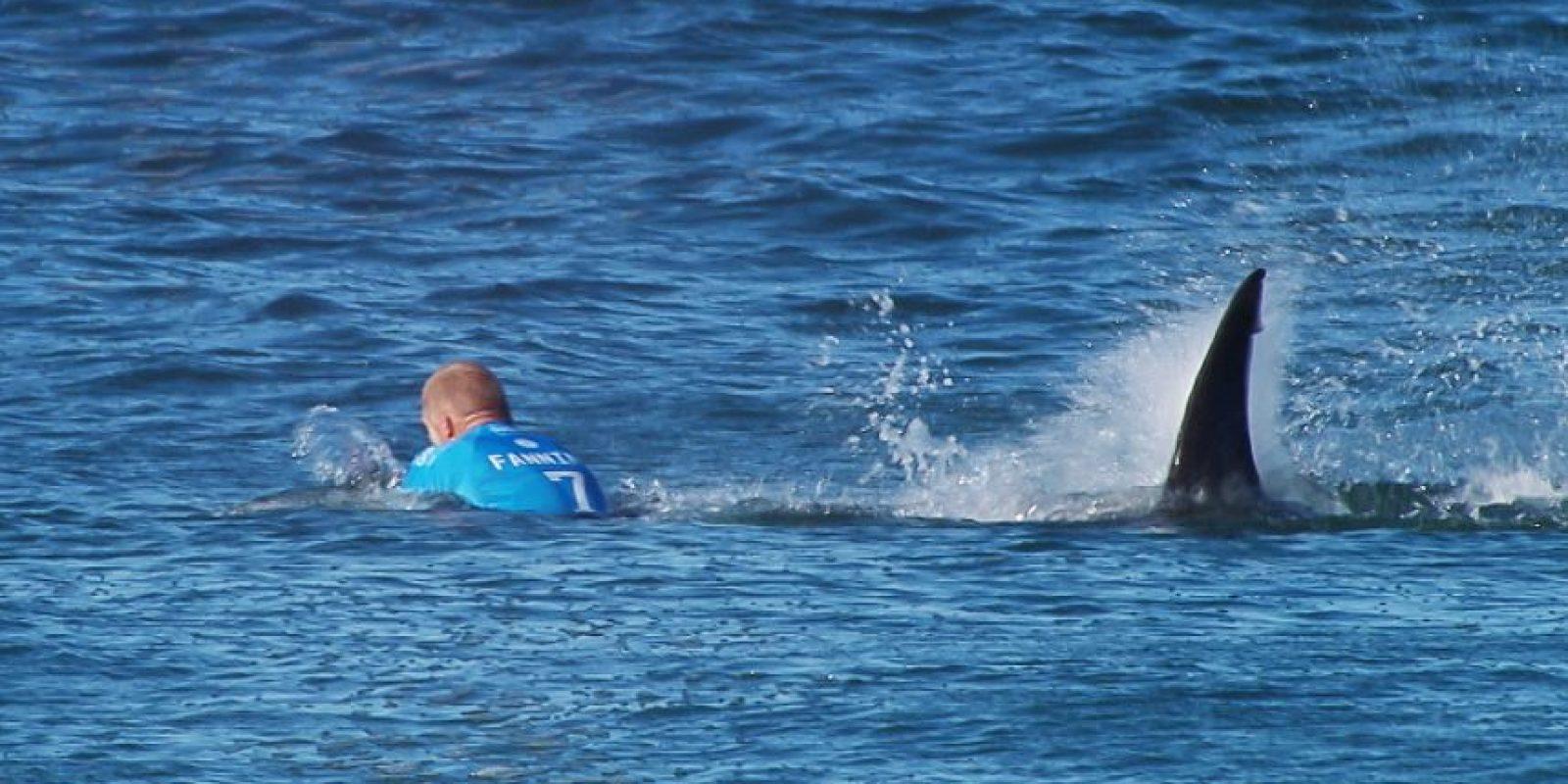 En julio el surfista profesional Mick Fanning fue atacado por un tiburón durante una competencia en Sudáfrica. Foto:AFP